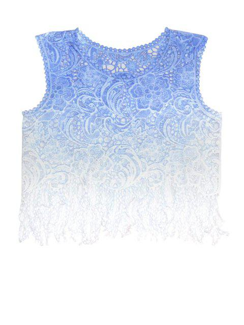 best Floral Pattern Color Block Fringe Tank Top - BLUE ONE SIZE(FIT SIZE XS TO M) Mobile