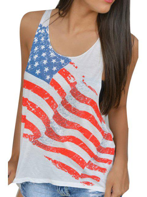 fancy American Flag Pattern Tank Top - WHITE S Mobile