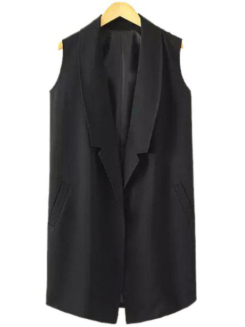 chic Lapel Solid Color Pocket Sleeveless Waistcoat - BLACK S Mobile