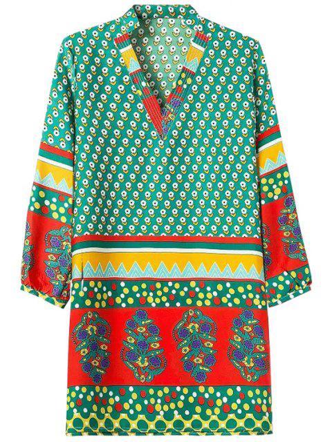 Floral minuscule Imprimer Color Block Dress manches longues - Multicolore L Mobile