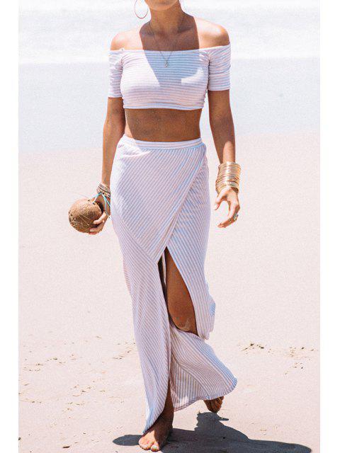 fashion Stripes T-Shirt + High Slit Skirt Twinset - WHITE S Mobile