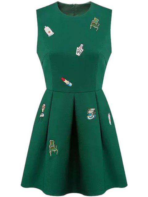 sale Round Neck Embroidery Zippered Dress - GREEN S Mobile