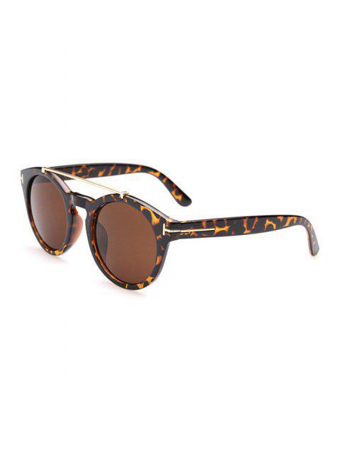 shop Alloy Leopard Frame Sunglasses - DEEP BROWN  Mobile