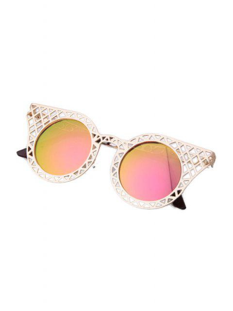 new Hollow Out Golden Mesh Sunglasses - PINK  Mobile