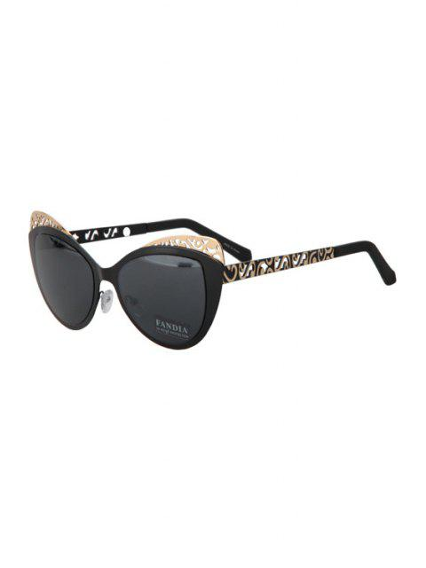 shop Butterfly Shape Color Block Frame Sunglasses - BLACK  Mobile