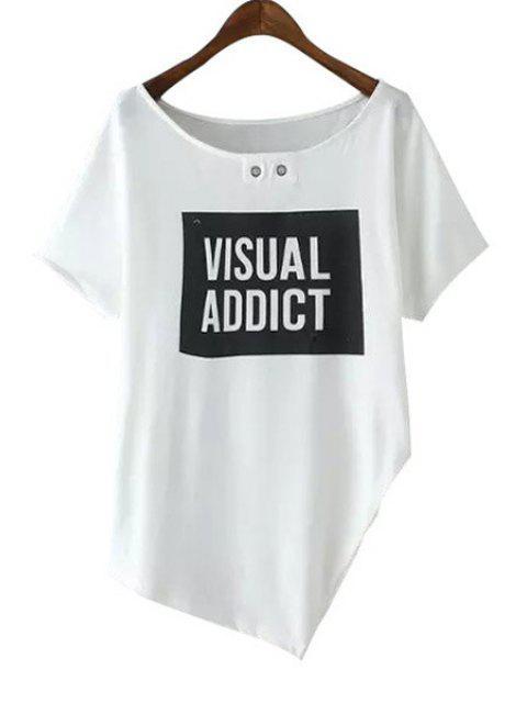 chic Scoop Neck Letter Print Asymmetrical T-Shirt - WHITE M Mobile