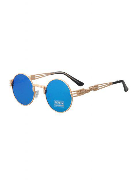 lady Alloy Round Frame Sunglasses - BLUE  Mobile