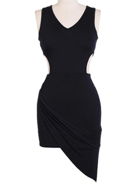 new V-Neck Solid Color Sleeveless Bodycon Dress - BLACK M Mobile