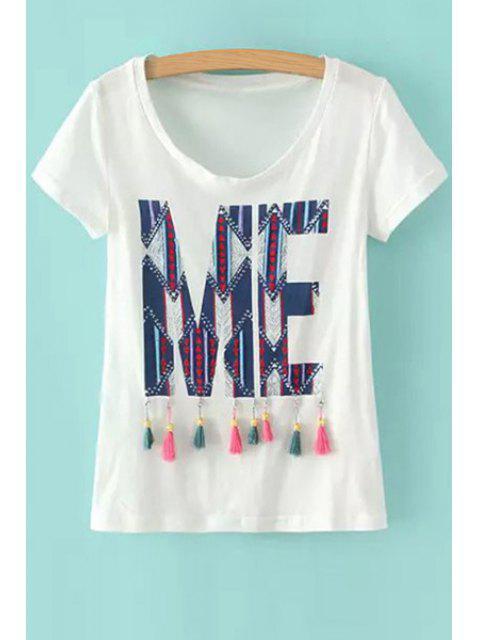 sale Geometric Pattern Tassel Splicing Short Sleeve T-Shirt - WHITE M Mobile