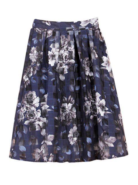 womens Floral Print Plaid Skirt - BLUE XL Mobile