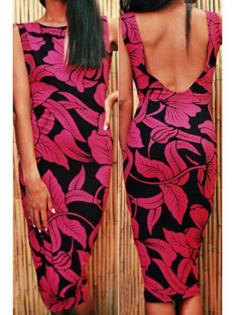 womens Leaf Print Sleeveless Bodycon Dress - ROSE L Mobile