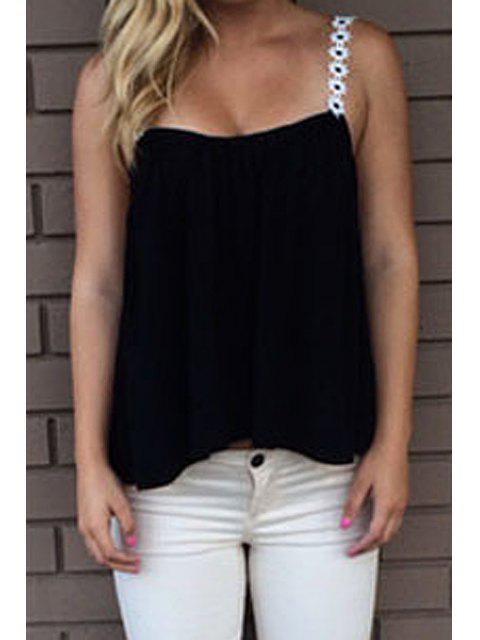 affordable Solid Color Strap Tank Top - BLACK M Mobile