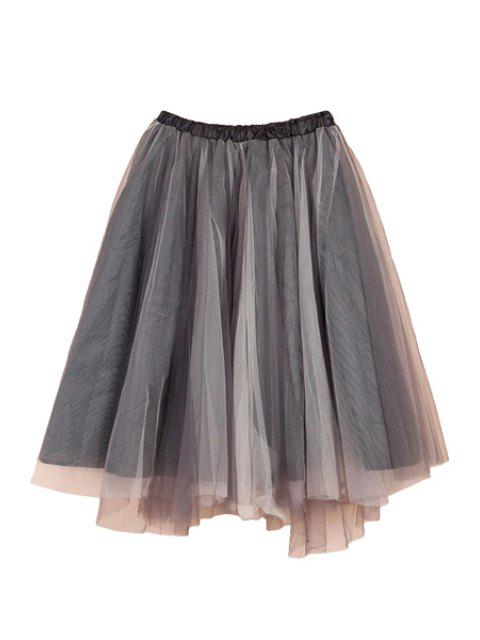 women Voile Splicing Multi-Layered Skirt - GRAY XL Mobile