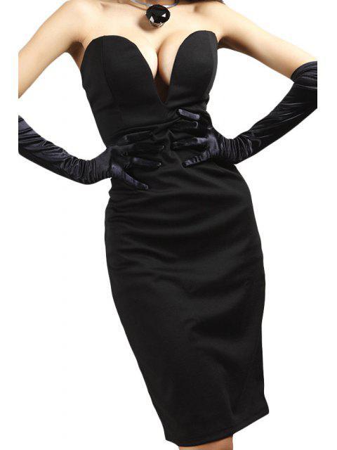 shop Black Strapless Pencil Dress - BLACK L Mobile