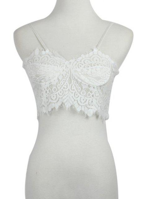 hot Spaghetti Strap Lace See-Through Tank Top - WHITE S Mobile