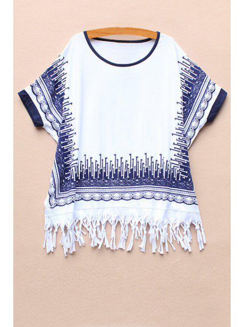 unique Short Sleeve Printed Tassel Spliced T-Shirt -   Mobile