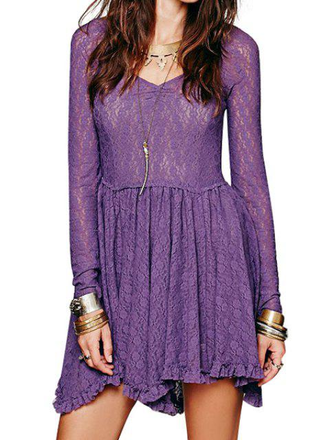 chic Long Sleeve Solid Color See-Through Lace Dress - PURPLE M Mobile