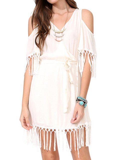 women Off-The-Shoulder Fringe Splicing Short Sleeve Dress - OFF-WHITE S Mobile