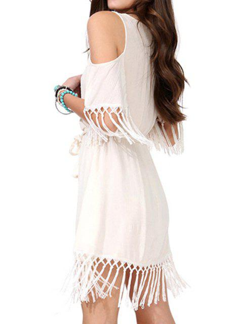 women Off-The-Shoulder Fringe Splicing Short Sleeve Dress - OFF-WHITE S Mobile