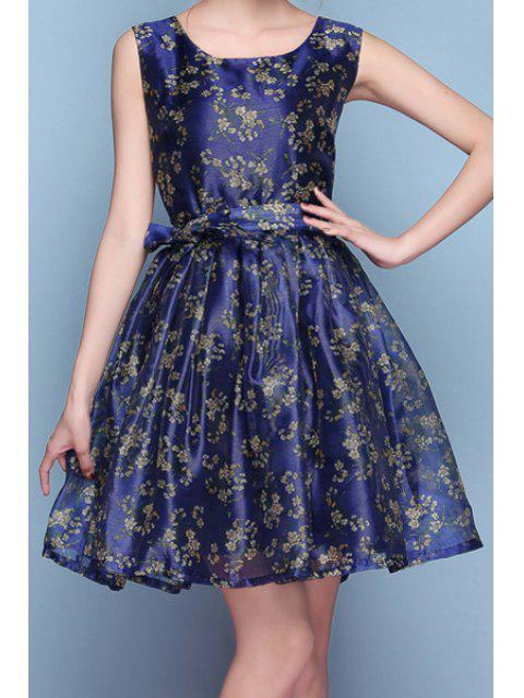outfits Scoop Neck Tiny Floral Print Sleeveless Dress - DEEP BLUE L Mobile
