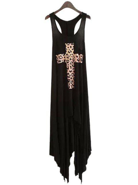 affordable Sleeveless Criss-Cross Leopard Print Dress - BLACK M Mobile