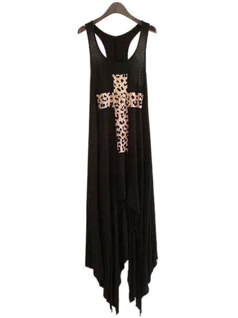 sale Sleeveless Criss-Cross Leopard Print Dress - BLACK S Mobile