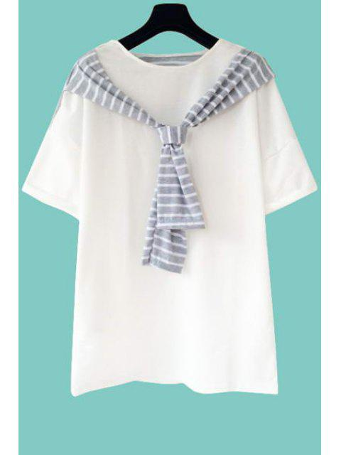 best Stripe Spliced Short Sleeve T-Shirt - WHITE ONE SIZE(FIT SIZE XS TO M) Mobile
