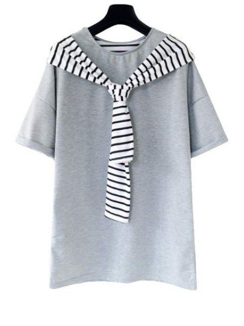 Stripe Spliced camiseta de manga corta - Gris Un tamaño(Montar tam Mobile