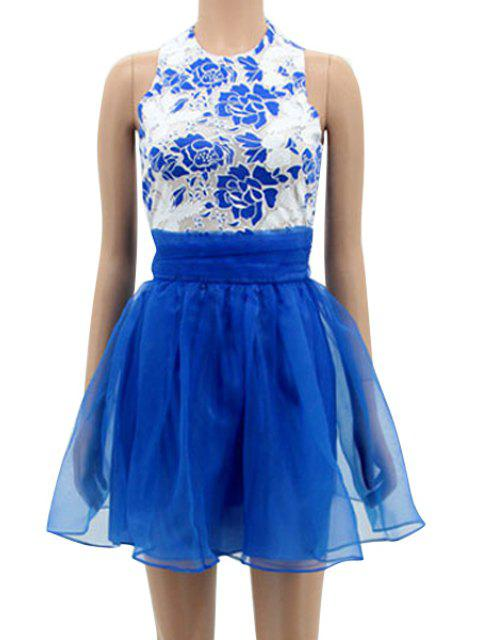 fashion Floral Spliced Sleeveless A-Line Dress - BLUE L Mobile
