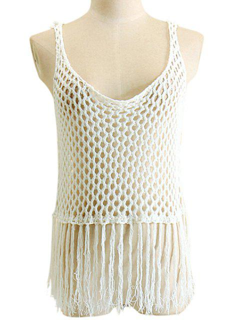 shop Openwork Fringe Crochet Tank Top - WHITE XL Mobile