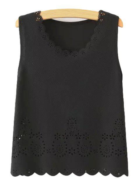 ladies Scoop Neck Hollow Out Tank Top - BLACK S Mobile