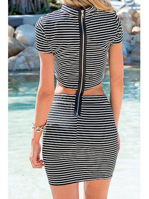 best Stand-Up Collar Stripe Back Zipper Splicing Dress - GRAY L Mobile