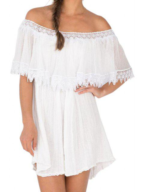 sale Slash Neck A-Line Ruffled Lace Spliced Dress - WHITE S Mobile