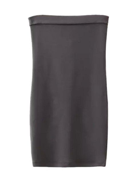 buy Strapless Solid Color Back Zipper Sleeveless Dress - GRAY S Mobile