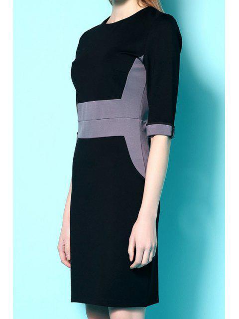 buy Half Sleeves Color Block Dress - BLACK XL Mobile