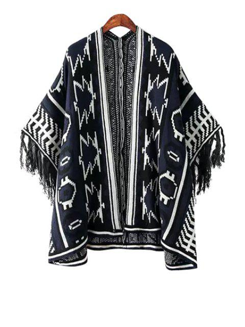 trendy Geometric Pattern Color Block Fringe Kimono Cardigan - WHITE AND BLACK ONE SIZE(FIT SIZE XS TO M) Mobile
