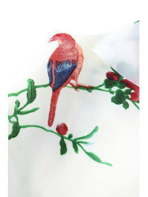 womens Floral Bird Print 3/4 Sleeve Kimono - WHITE M Mobile