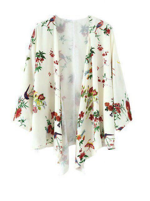 Floral Bird Print 3/4 Sleeve Kimono - Blanc M Mobile