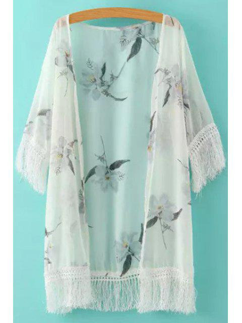 online White Fringe Splicing Floral Print Half Sleeve Kimono - WHITE ONE SIZE(FIT SIZE XS TO M) Mobile