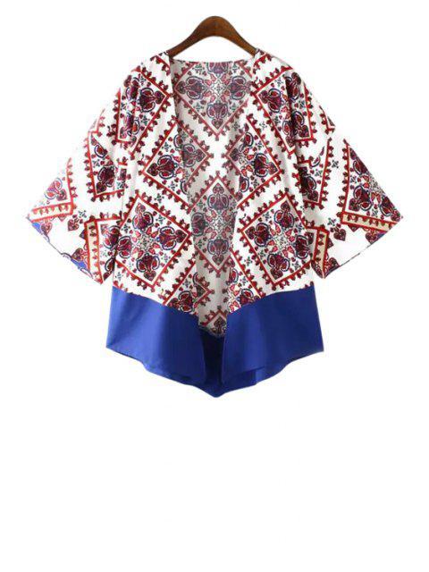 Kimono mit Farbblock Druck und Langarm - Weiß M Mobile