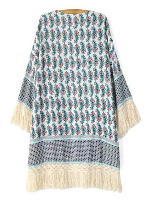 womens Paisley Print Fringe Long Sleeve Kimono - COLORMIX S Mobile