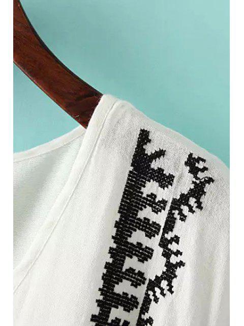 Blouson épicé à la broderie à manches courtes à manches courtes - Blanc Taille Unique(S'adap Mobile