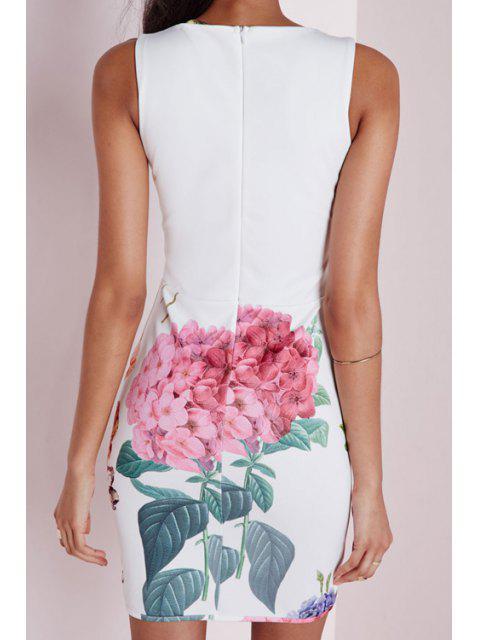 shops Floral Print White Sleeveless Deep V Neck Dress - WHITE S Mobile