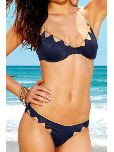 62278011fc Halter Neck Hackly Openwork Bikini Set - Sapphire Blue L