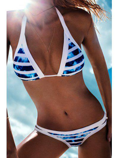 Halter Color Block Tie-Up Bikini Set - Blue M