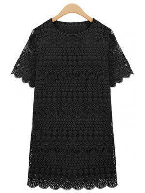 Polka Dot Solid Color Lace Short Sleeve Dress