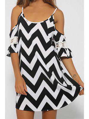 Spaghetti Strap Zig Zag Lace Splicing Dress - Black Xl