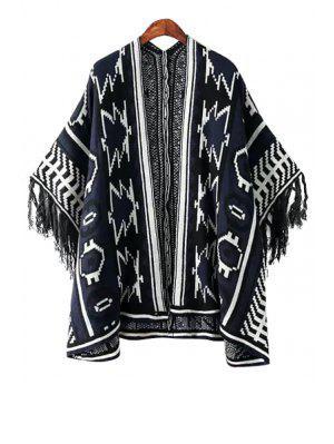 Geometrisches Muster Farbblock Fransen Kimono Strickjacke