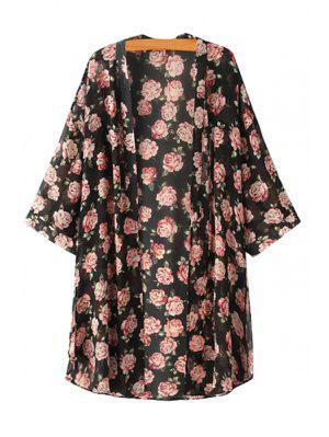Kragenloser Blick durch Blumendruck Kimono