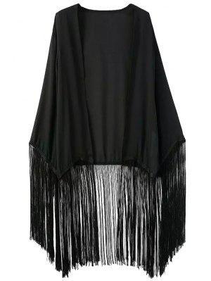 Schwarze Chiffon Langarm Kimono Bluse